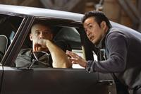 Vin Diesel and director Justin Lin on the set of
