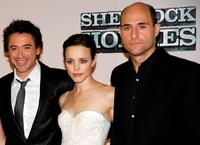 Robert Downey Jr, Rachel McAdams and Mark Strong at the press conference of