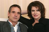Fanny Ardant and Jeremy Irons at the photocall to promote their forthcoming feature film 'Callas Forever', celebrating the life of opera diva Maria Callas, at The Sanderson Hotel.