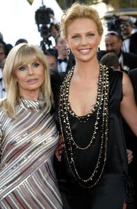 Britt Ekland and Charlize Theron at the screening of