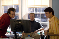Will Arnett, director Bob Odenkirk and Will Forte on the set of