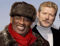 Stephen Lang and television weatherman Al Roker at the Civil War re-enactment