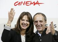 Asia Argento and her father Dario Argento at the photocall of