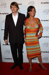 Cary Elwes and Lisa Marie Kurbikoff at the Angeleno Magazine and Lion Gates' pre-Oscar party.