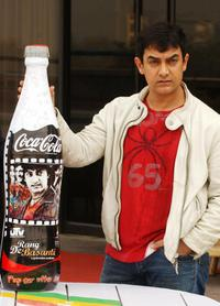 Aamir Khan with special edition bottle of