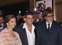 Deepika Padukone, Akshay Kumar and Amitabh Bachchan at the European premiere of