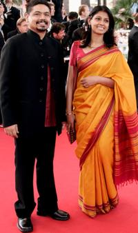 Nandita Das and guest at the screening of
