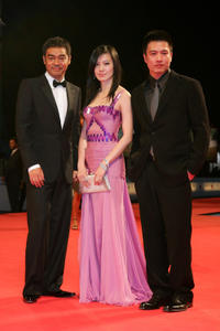 Lau Ching-Wan, Kelly Lin and director Johnnie To at the premiere of