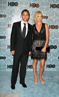 Stuart Townsend and Charlize Theron at the HBO Emmy after party.