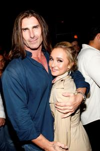 Fabio and Kristen Bell at the grand opening of Lamborghini Calabasas.