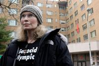 Mia Farrow at the rally to protest against the genocide in Darfur.
