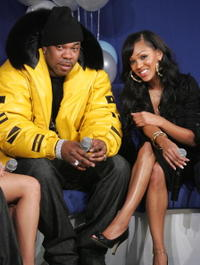 Busta Rhymes and Meagan Good at the BET's taping of 106 and Park's New Years Eve celebration.