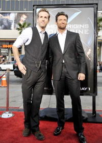 Ryan Reynolds and Hugh Jackman at the screening of 20th Century Fox's