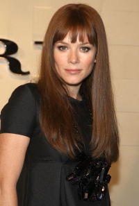 Anna Friel at the grand re-opening of the Burberry Beverly Hills store.