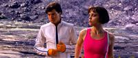 Emile Hirsch as Speed Racer and Christina Ricci as Trixie in