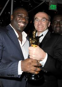 Adewale Akinnuoye-Agbaje and Danny Boyle at the Fox Searchlight Oscar after party of