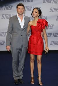 Karl Urban and Zoe Saldana at the premiere of