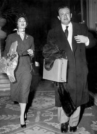 Ava Gardner and Joseph Mankiewicz as they arrive in a lobby of a Rome hotel.