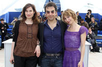 Emanuelle Devos, director/president of the jury Atom Egoyan and Dinara Droukarova at the photocall of the Cinefondation Jury during the 63rd Cannes Film Festival.