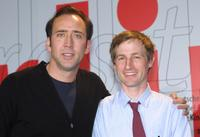 Spike Jonze and Nicolas Cage at a news conference at the Berlinale Film Festival.