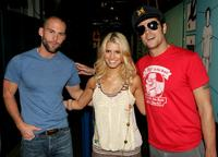 Seann William Scott, Jessica Simpson and Johnny Knoxville at the MTV's Total Request Live.