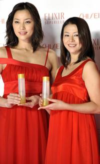 Asaka Seto and Kyoko Koizumi at the unveiling of new line up of skin care and anti-aging product brand