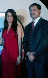 Raima Sen and Sanjay Sharma at the launch of new Samsung printers in New Delhi.