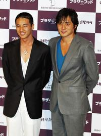 Won Bin and Jang Dong-gun at the press conference of