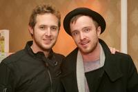 A.J. Buckley and Aaron Paul at the Belvedere Luxury Lounge in honor of the 80th Academy Awards.