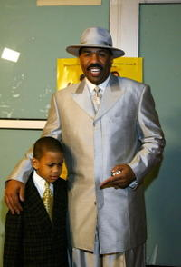 Steve Harvey and his son Wynton at the premiere of