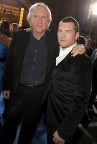 James Cameron and Sam Worthington at the premiere of