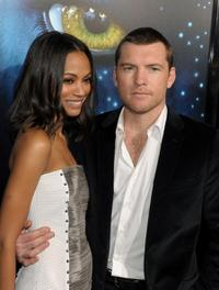Zoe Saldana and Sam Worthington at the premiere of