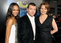 Zoe Saldana, Sam Worthington and Sigourney Weaver at the premiere of