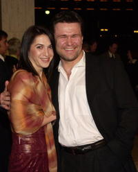 Masha and Oleg Taktarov at the premiere of