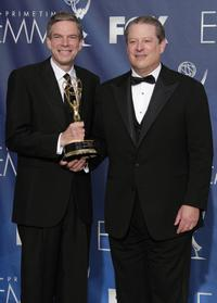 Joel Hyatt and Al Gore at the 59th Annual Primetime Emmy Awards.