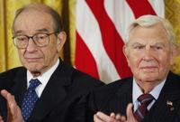 Alan Greenspan and Andy Griffith at the Presidential Medal of Freedom the nation's highest civil award.