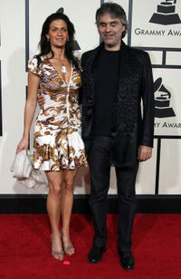 Veronica Berti and Andrea Bocelli at the 50th Annual Grammy Awards in California.