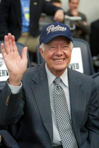 President Jimmy Carter at the San Francisco Giants and San Diego Padres game.