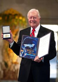 President Jimmy Carter at the 2002 Nobel Peace Prize Ceremony.