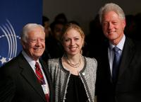 President Jimmy Carter, Chelsea Clinton and President Bill Clinton at the opening night reception of