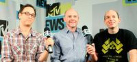 David Wain, Rob Cordrry and Paul Scheer at the MySpace & MTV Tower during the Comic-Con 2010.