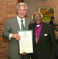 Charles Gargano and Desmond Tutu at the VIP Opening Luncheon during the Tribeca Film Festival.