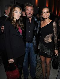 Laura Smet, Johnny Hallyday and Laeticia Hallyday at the Patrick Demarchelier's exhibition Party.