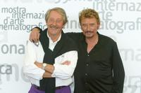 Jean Rochefort and Johnny Hallyday at the 59th Annual Venice Film Festival.