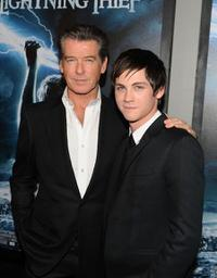 Pierce Brosnan and Logan Lerman at the premiere of