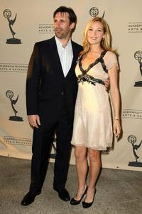 Jon Hamm and Jennifer Westfeldt at the Academy of Television Arts & Sciences panel discussion of
