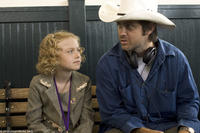 Dakota Fanning and writer/director John Gatins on the set of