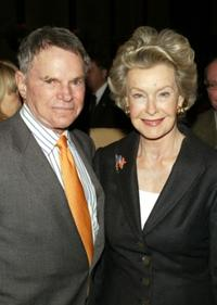 Ted Hartley and Dina Merrill at the breakfast panel for