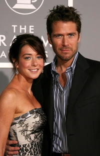 Alyson Hannigan and husband/actor Alexis Denisof at the 49th Annual Grammy Awards.