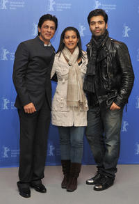 Shah Rukh Khan, Kajol and director Karan Johar at the photocall of